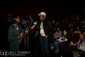 Danny Glover does an interview before a packed audience for I AM NOT YOUR NEGRO (Photo by Bll Dabney)