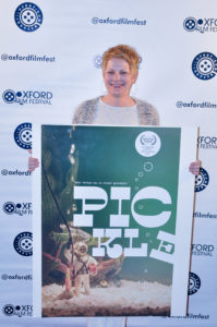 Even the poster for PICKLE is adorable. Amy Nicholson, director, at the Oxford Film Festival. (Photo by Bill Dabney)
