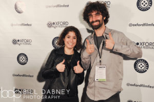 "GOLD STAR director and star Victoria Negri and composer Ben Levin give the red carpet experience the ""thumbs up"" (Photo by Harrison Hadaway)"
