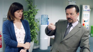David Brent back in the familiar confines of an office.