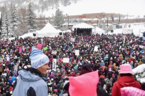 Marchers during the Women's March on Main Street Park City on January 21, 2017 in Park City, Utah. (Photo by Alberto E. Rodriguez/Getty Images)