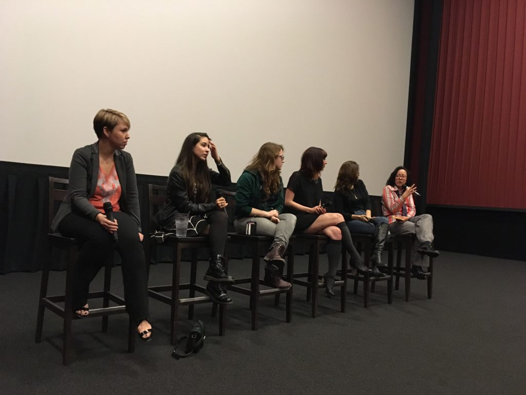 WTxFF's Justina Walford moderates the discussion on female filmmakers and horror at the Alamo Drafthouse