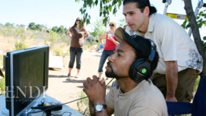 De Veau Dunn, with producing partner Nick George in video village during a shoot.