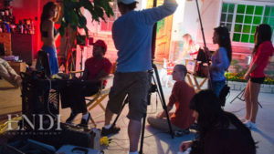 De Veau Dunn, with his crew, prepping a spec commercial shoot