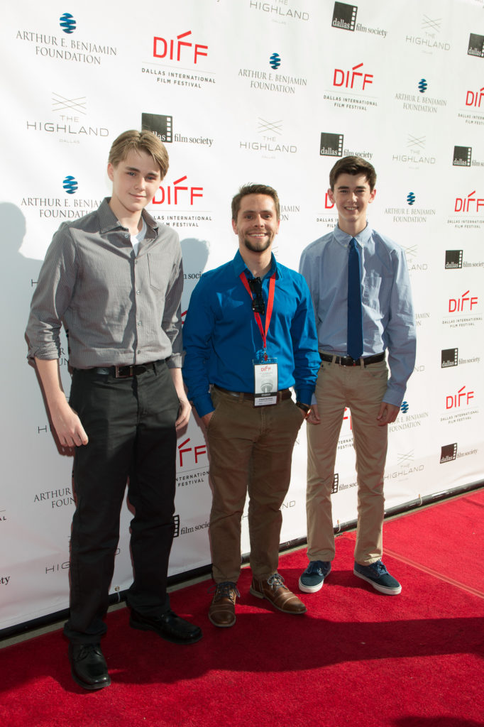 Austin Hoffman (Cast), Everett Hoffman (Director), and Joey Morris (Cast) of SAFE led off the final red carpet of the fest (Photo by John R. Strange/Selig Polyscope Company)