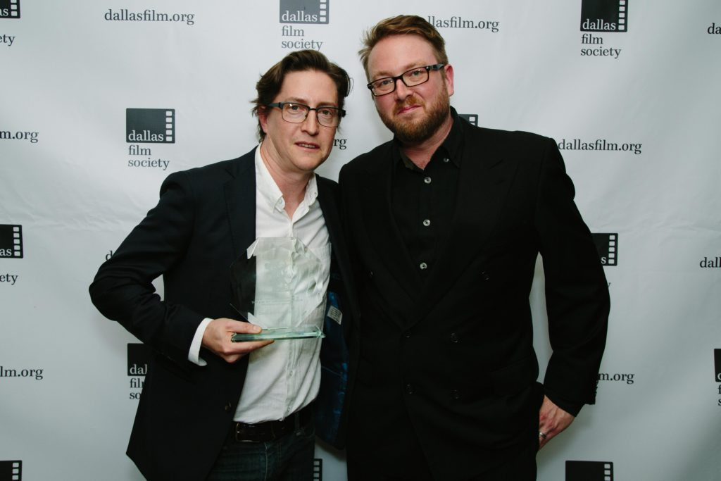 "David Gordon Green with he L.M. ""Kit"" Carsom Maverick Award presenter/sponsor, Hunter Carson (Photo by Lindsay Jones)"