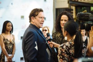 Judge Reinhold being interviewed (Photo by Lindsay Jones)