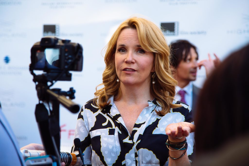 Lea Thompson being interviewed (Photo by Lindsay Jones)