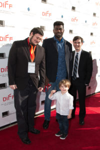 Mathew Brown (DP), Jace Brown (Son of a DP), Brian Mbepeh (Director), Ryan Blitzer (1st AD) of Missing (The Art Institute of Dallas) (Photo by John R. Strange:Selig Polyscope Company)