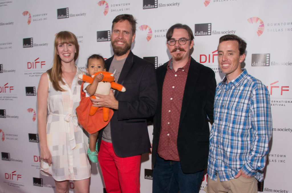Brittney Shepherd (Producer), miniature producer-in-training, Felix the Fox, Micah Barber (Director), Tony Faia (Screenwriter), and Nathaniel Pope (Associate Producer) of INTO THE WHO KNOWS! (Photo by Steve Duffy/Selig Polyscope Company)