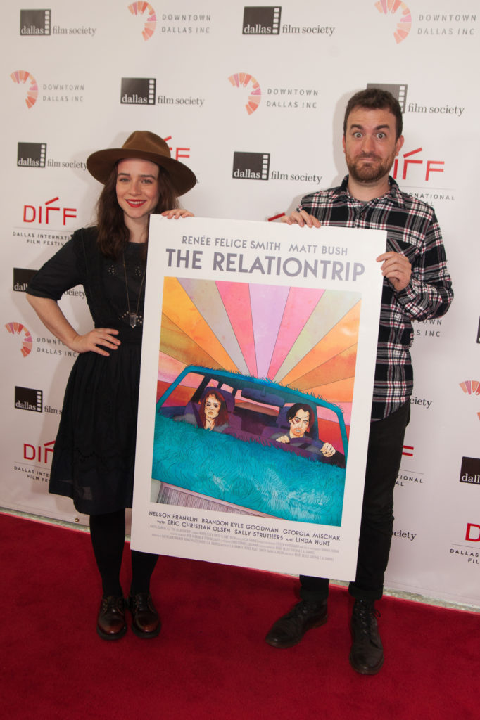 THE RELATIONTRIP's Co-director/Co-screenwriter C.A. Gabriel and Co-director/Co-screenwriter/star Renée Felice Smith pose with their poster (Photo by Riley Pennell/Selig Polyscope Company)