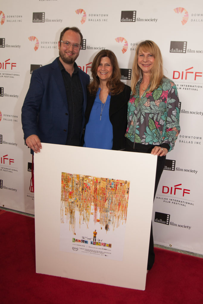 THE SECRET LIFE OF LANCE LETSCHER's Jason Gamble Harter, Sandra Adair, and Kristi Frazier pose with their poster (Photo by Riley Pennell/Selig Polyscope Company)