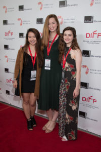 Three young ladies sharing the directing duties on the film, HOV: Gabielle Piamonte  of North Hills Prep, Lillian Rose, and Isabel Brown - bot from of Ursuline Academy of Dallas. (Photo by John R. Strange/Selig Polyscope Company)