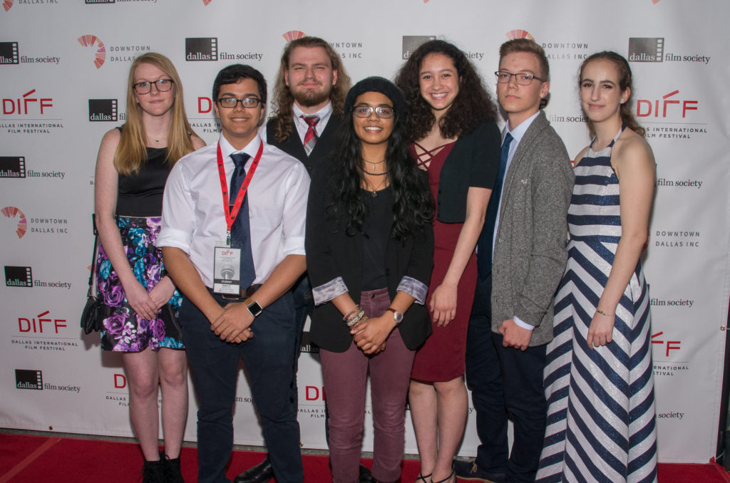 (FRONT ROW) Kshitij Kapil (DP), Amulya Pilla (Director); (BACK ROW) Kaitlyn Rigdon (Assistant Director), Christian Hughes (Talent), Trinity Sullivan (Talent), Daniel Larva (Sound Operator), Zoe Georgulas (Editor) RUFIO (New Tech High School at Coppell) (Photo by Steve Duffy/Selig Polyscope Company)