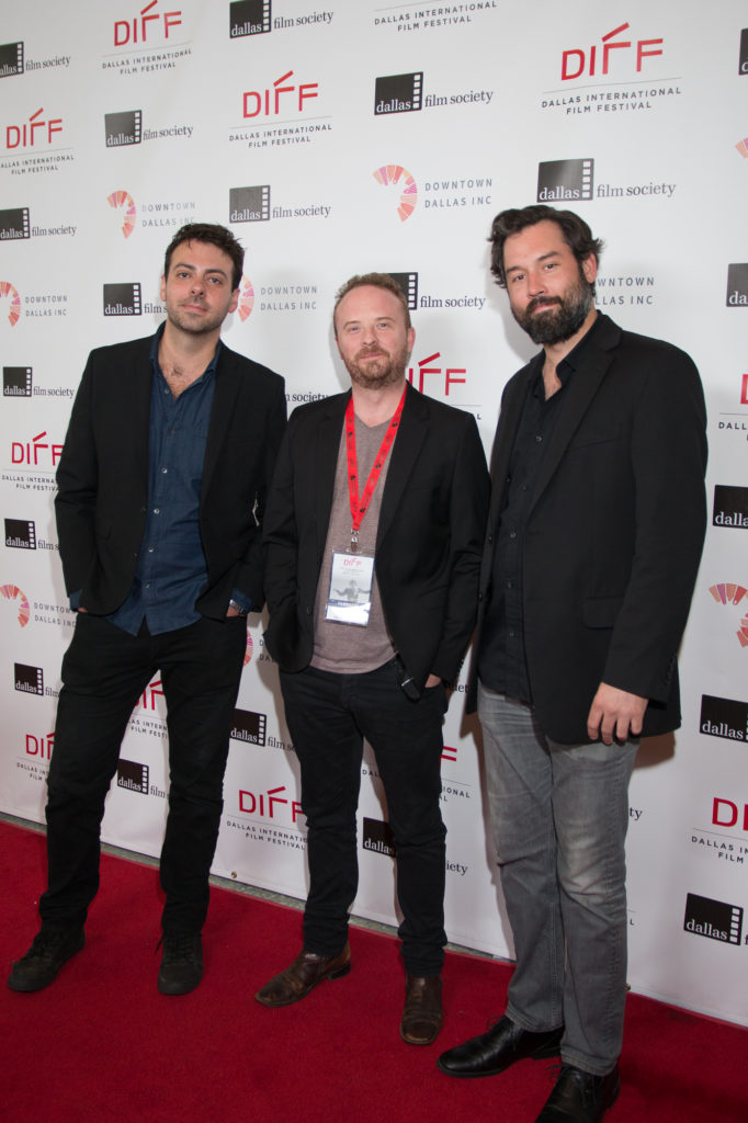 Nathan Smith (DP/ Co-Screenwriter), Michael Mobley (Producer), Michael Bartnett (Co-Producer) of MUSTANG ISLAND (Photo by John R. Strange/Selig Polyscope Company)