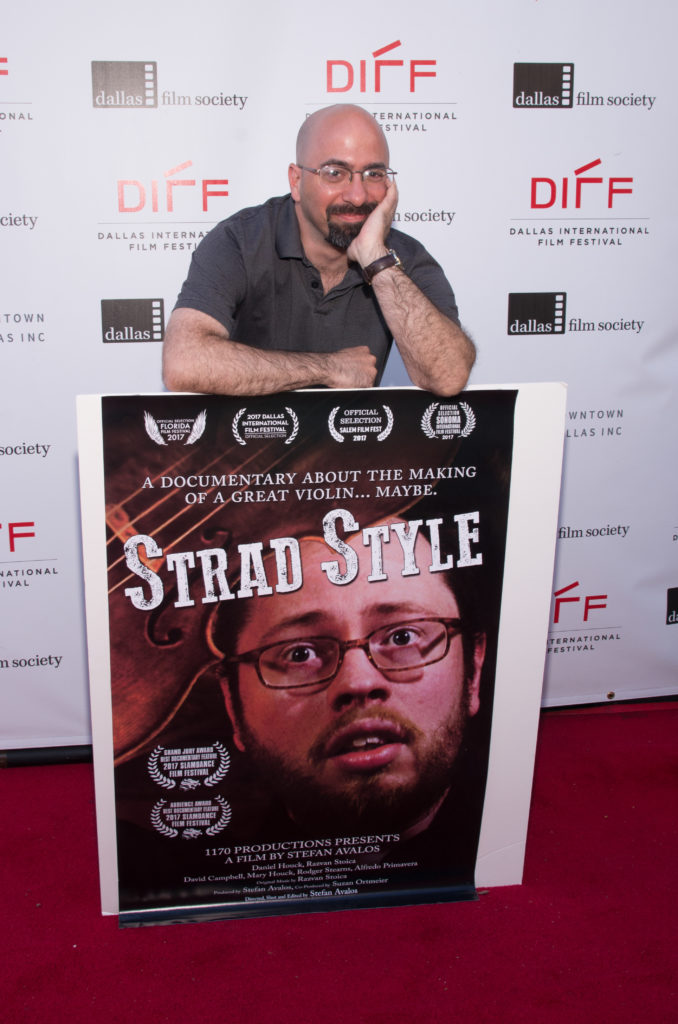Stefon Avalos, Director of STRAD STYLE, with his film's poster. (Photo by Steve Duffy/Selig Polyscope Company)