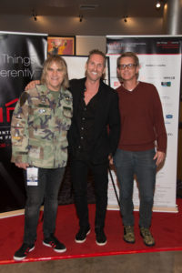Mike Peters,and producers James Chippendale and Jonathan McHugh (MAN IN THE CAMO JACKET) (Photo by Tim Valis/Selig Polyscope Company)