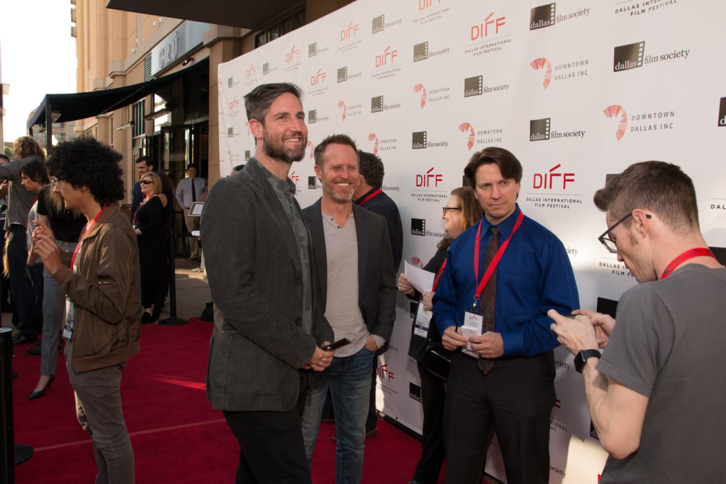 Mark Palansky (Director) and Lee Clay (Producer) of REMEMORY get ready to be interviewed by Shaun Colón (DIFF Social Media) (Photo by John R. Strange/Selig Polyscope Company).