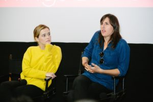 DIFF 2017 Q&A - Ry Russo Young makes a point, while Zoey Deutch listens intently (Photo by Lindsay Jones)