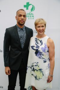 Kendrick Sampson (How to Get Away With Murder) with his mother, Daphne (Photo by Lindsay Jones)