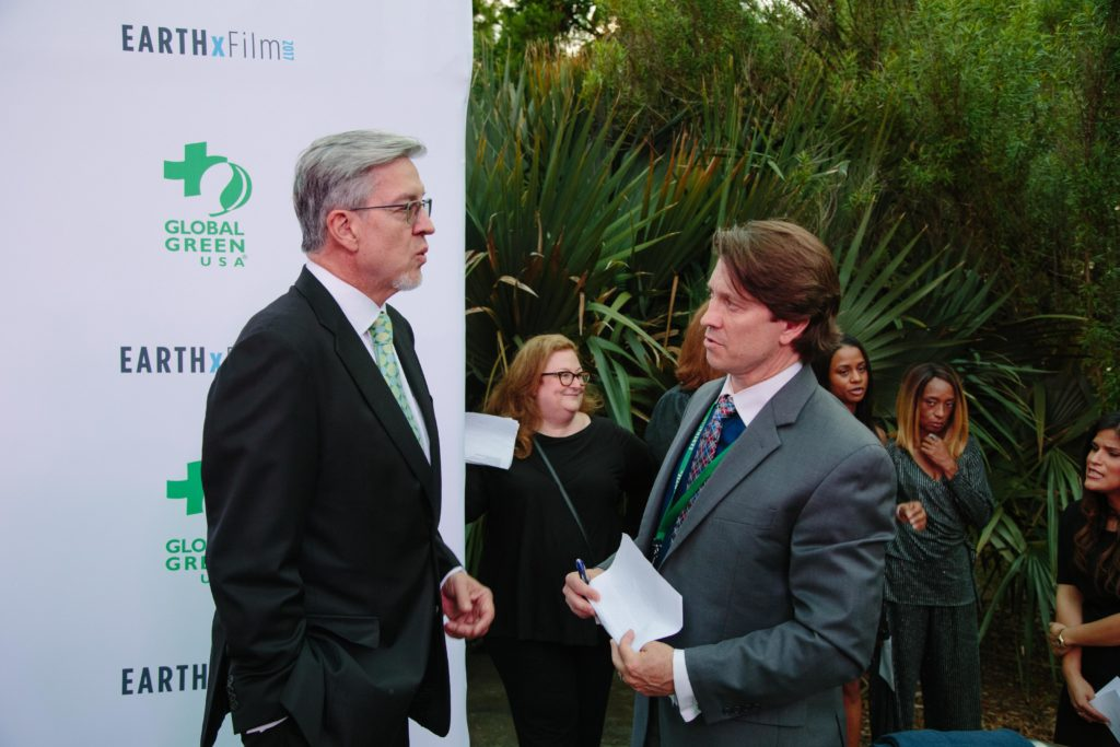 Taking stock of the carpet that was with EARTHxFilm's Michael Cain (Photo by Lindsay Jones)