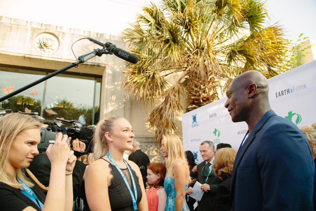 Peter Mensah (Sparticus) being interviewed (Photo by Lindsay Jones)