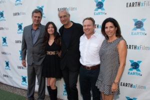 Chip Comins (Assistant Producer), Leilani Münter, (professional race car driver), and Louie Psihoyos (Director), RACING EXTINCTION; James Haddaway (Board Member), Oceanic Preservation Society and Shannon Haddaway (Photo by Steve Duffy/Selig Polyscope Company)