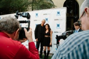 Louie Psihoyos and Leilani Münter posing for photographers (RACING EXTINCTION) (Photo by Lindsay Jones)