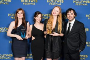 Sonja O'Hara (Co-Director of Doomsday), Jennifer Doherty (HollyWeb Festival Co-Director), Karin Agstam (Best Actress winner -Doomsday), Daniel Doherty (HollyWeb Festival Co-Director)