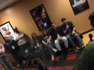 The KUDZU ZOMBIES crew being interviewed at the 2017 Oxford Film Festival by Selig News (Photo Wildman)