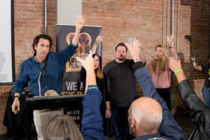 Louisiana Film Prize's Gregory Kallenberg leading a toast to the launch of the 2017 edition