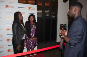 SEARCH PARTY's dynamic duo, Ellie Foumbi and Tesia Walker being interviewed (Photo by Diana Yanez)
