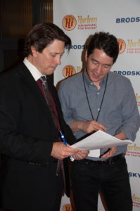 Getting the names right with director Christopher Ming Ryan for the PHILIP CARLSON ON BEHALF OF TALENT film (Photo by Diana Yanez)