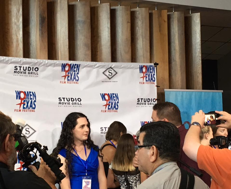 Dani Pellett in the middle of the red carpet action. (Photo by Jennifer McCann)