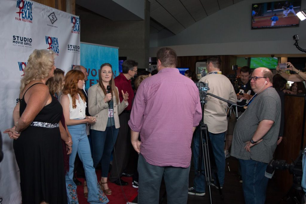 Allison Unger (IF YOU ONLY KNEW) being interviewed (Photo by John Strange)