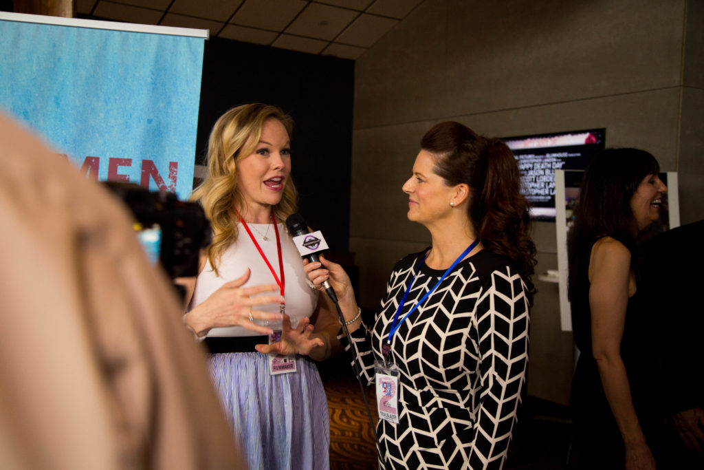 Ashley Atwood (MIMI'S MISADVENTURE) being interviewed (Photo by Lindsay Jones)