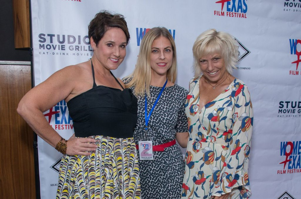 QUALITY PROBLEMS's Colette Freedman and Brooke Purdy flank WTxFF Board Member and their hostess for the festival, Lisa Normand. (Photo by Steve Duffy)