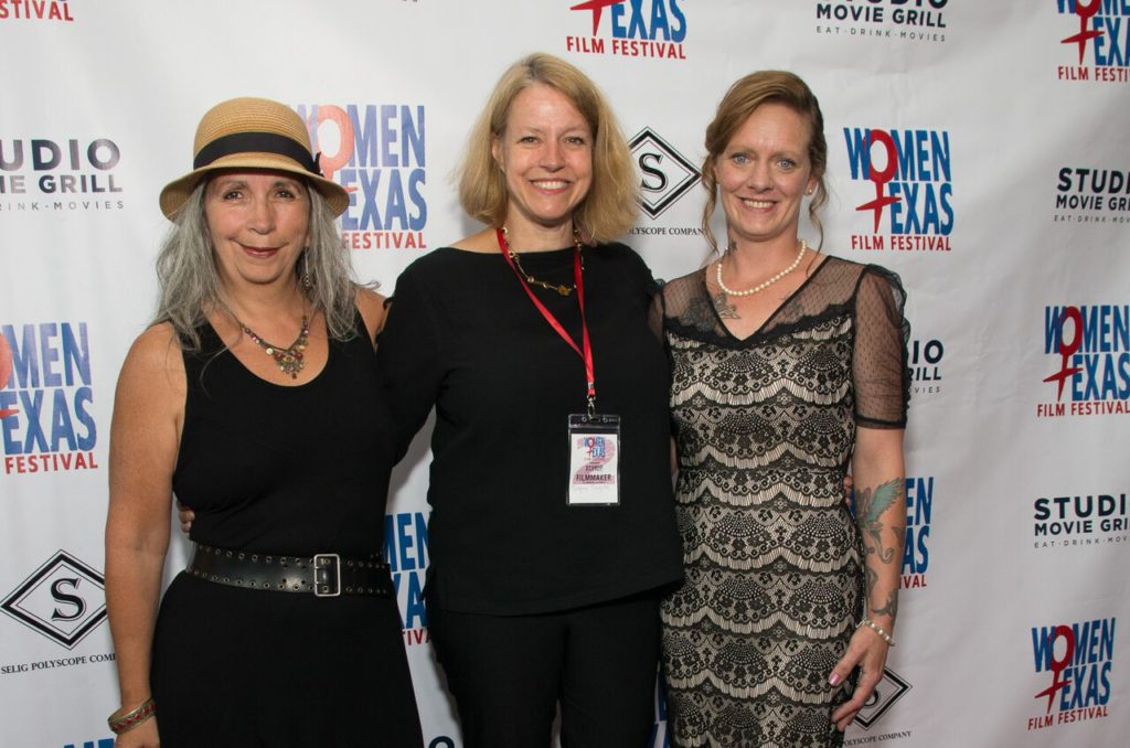 IT'S CRIMINAL: A TALE OF TWO AMERICAS documentary subjects Pat Hernandez and Charlotte Gunderson, flank director Signe Taylor (Photo by Steve Duffy)