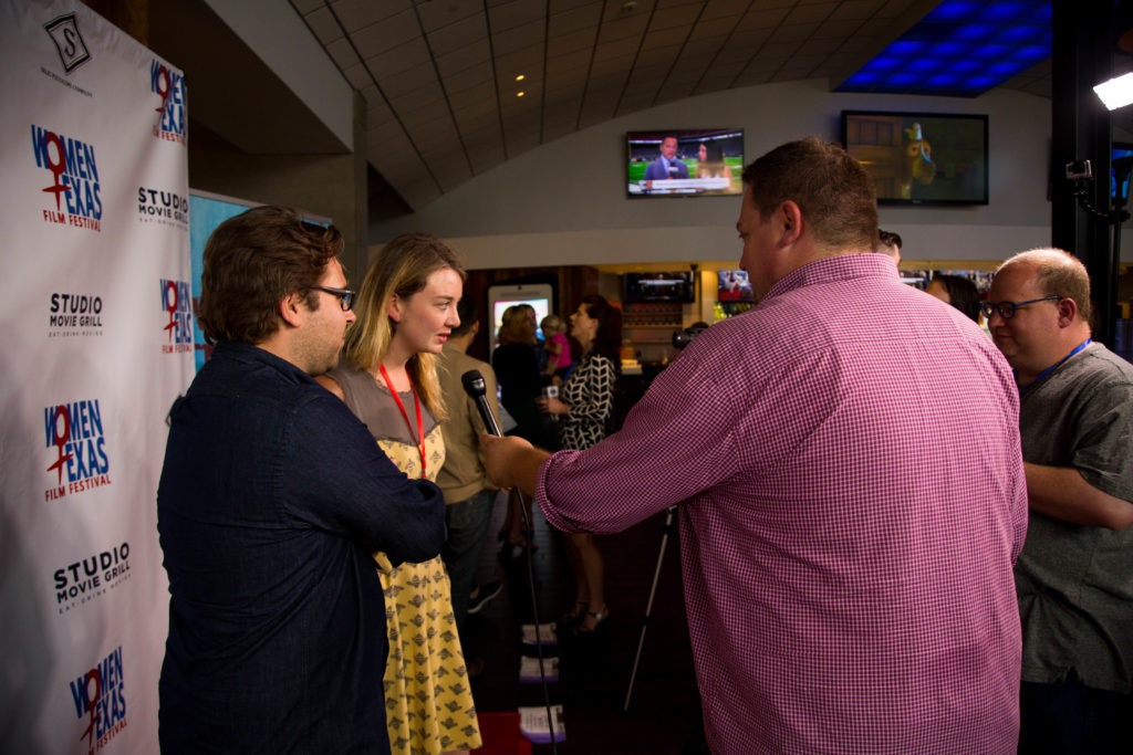 Siena Pinney (POSSIBILITY) being interviewed. (Photo by Lindsay Jones)