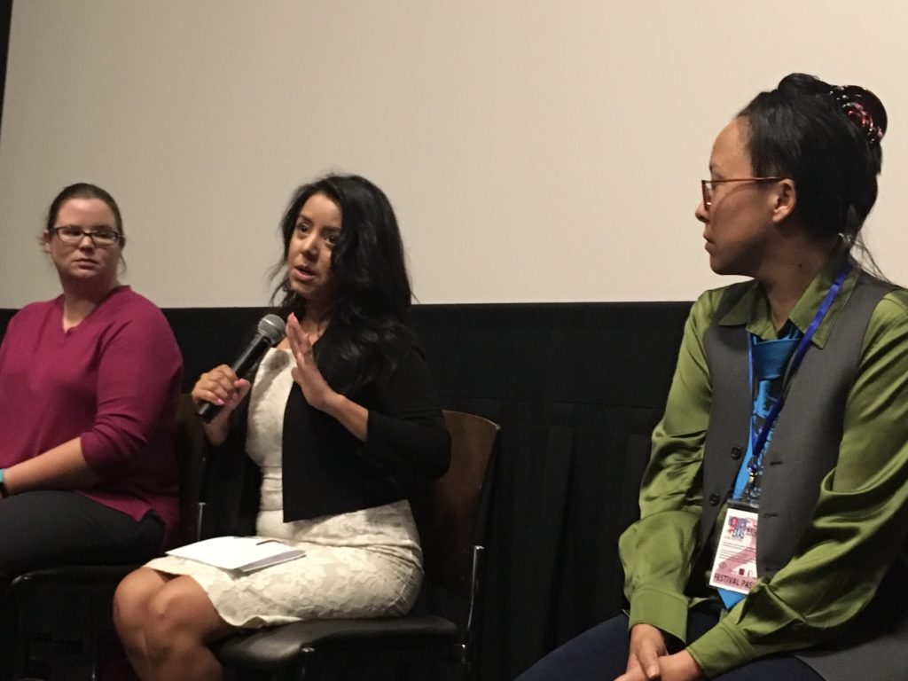Q&A after screening of I AM EVIDENCE with Libby Woolverton (Dallas Area Rape Crisis Center), texas State Representative Victoria Neave, WTxFF Artistic Director Justina Walford (Photo by Wildman)