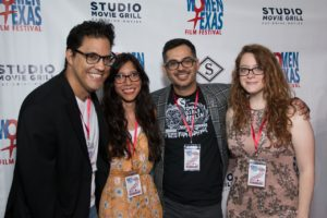 The THAT'S MY BOY team: Alfred Ramirez (CAST). Paloma Hernandez (Grip), Rudy Cervantes (DIR/PROD), Nicole Pence (DP/PROD) (Photo by John Strange)
