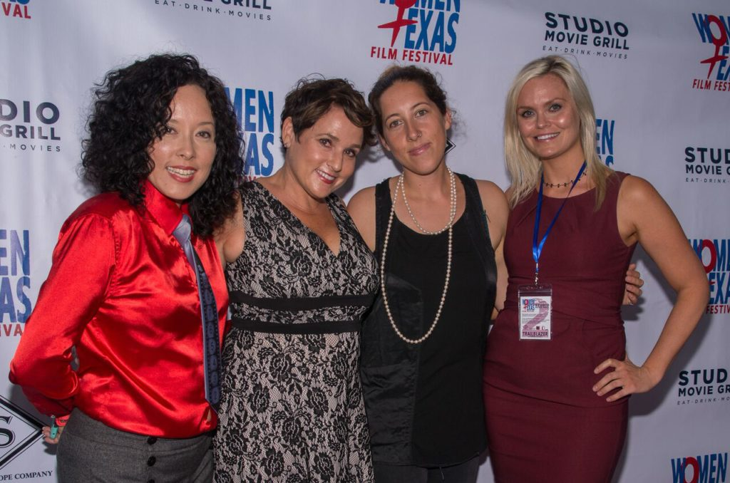WTxFF's Justina Walford and Vanessa Cook flank the evening's rock stars: AND THEN THERE WAS EVE's Colette Freedman and Savannah Bloch. (Photo by John Strange)
