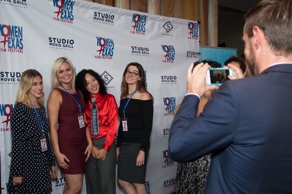 Posing for the camera: WTxFF's Lisa Normand, Vanessa Cook, Justina Walford, and Audrey Palmer (Photo by John Strange)
