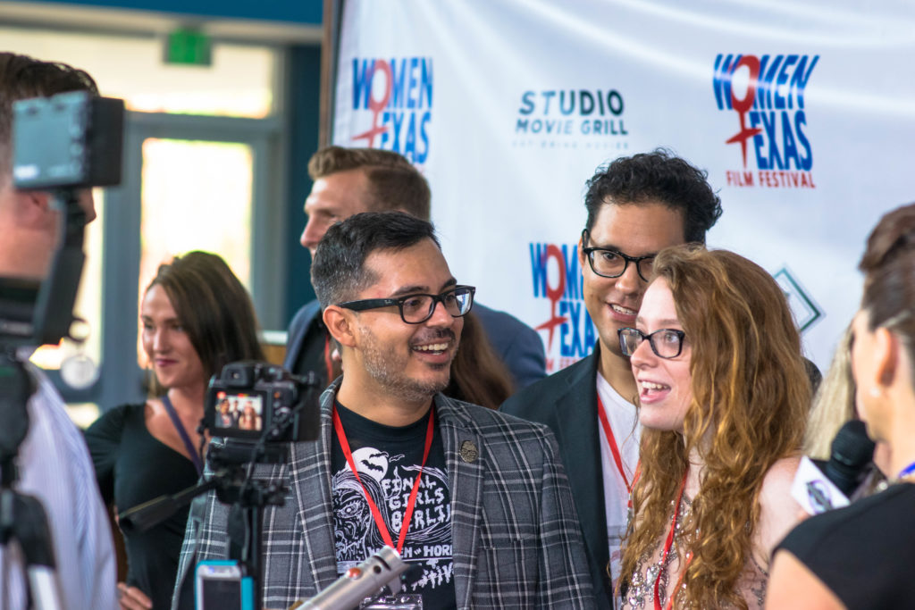 The THAT'S MY BOY team (Rudy Cervantes, Alfred Ramirez, Nicole Pence) being interviewed (Photo by Arthur Lefebvre)