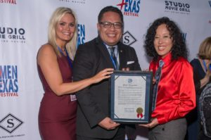 WTxFF's Vanessa Cook and Justina Walford with Councilman Omar Narvaez (Photo by Steve Duffy)