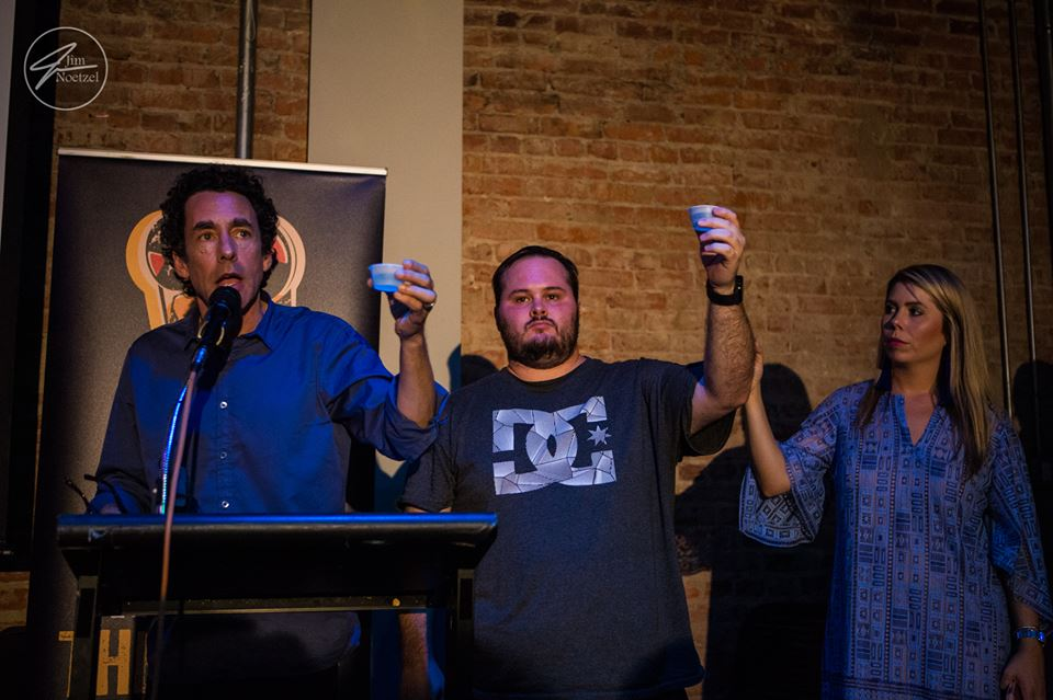 Louisiana Film Prize's Gregory Kallenberg, Chris Lyon, and Sabrina Adsit taking part in the third or fourth toast at just that one event...