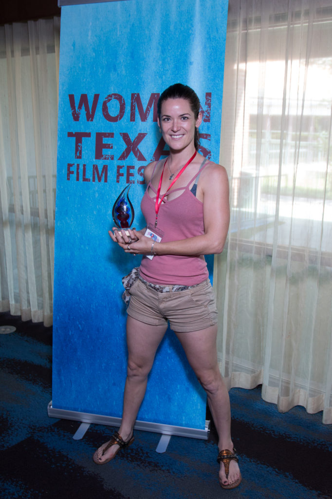 "Maja Aro, with her WTxFF award for ""Best Short Film"" for HOODS."