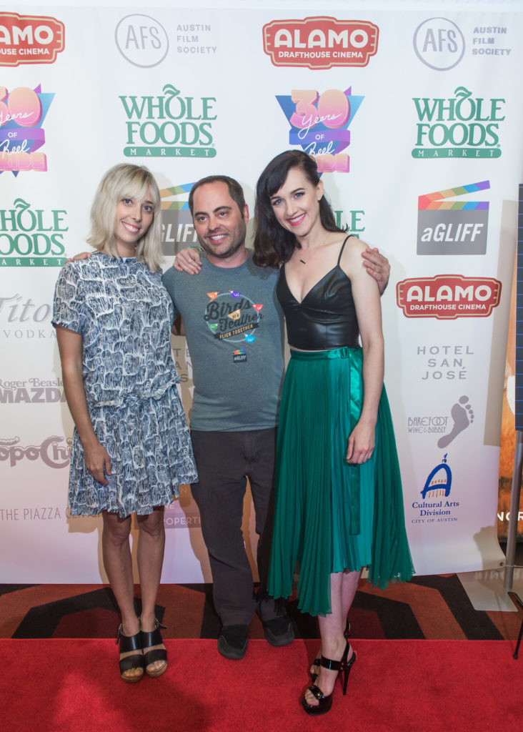aGLIFF's Jim Brunzell with the BECKS women: Elizabeth Rohrbaugh and Lena Hall (Photo by Erika Rich)