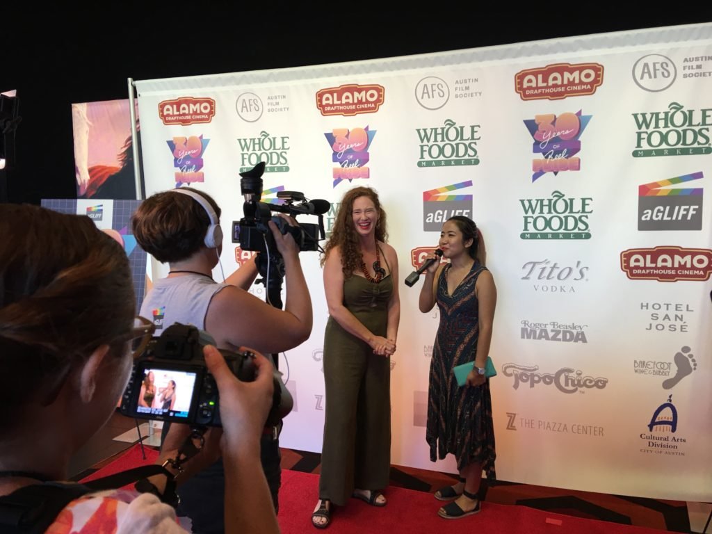 Sherry Y. Shi, director of EGGS, ZOMBIES & BACON being interviewed (Photo by Stephanie Mella)