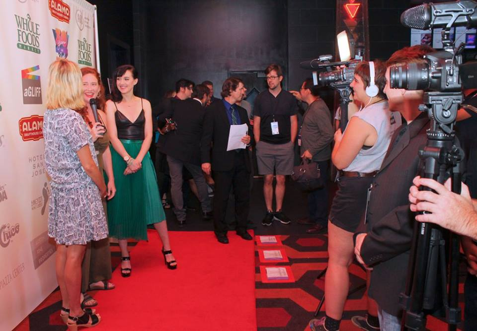 The SOMETHING LIKE SUMMER guys wait there turn as the BECKS women are interviewed (Photo by Frank Hui)